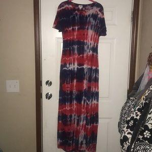 Lularoe Maria Tie Dye Maxi Dress 4th of July XS